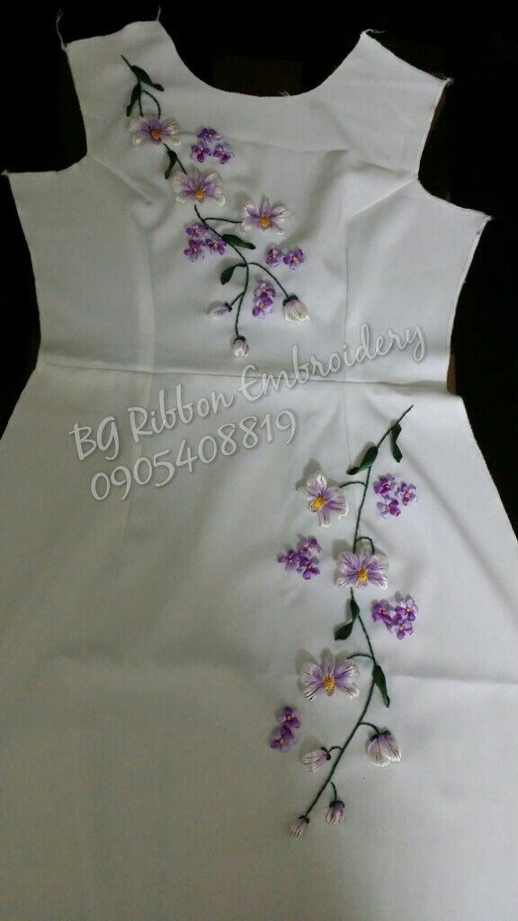 Orchid ribbon embroidery