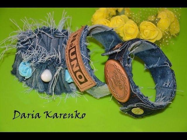 DIY Модные браслеты из джинсов и пластиковых бутылок. Мастер класс