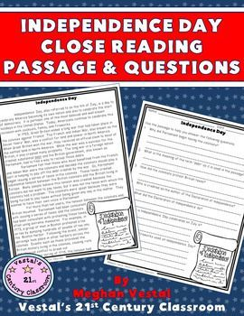 Independence Day Close Reading Passage & Questions is a great activity to use during your language arts or social studies class around Independence Day. This two-page passage includes information about how Independence Day was started, where traditions associated with Independence Day come from, and how Independence Day is celebrated today.