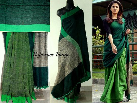 Linen 100 count forest green pure organic handwoven saree – Shop With Shanti Inc.