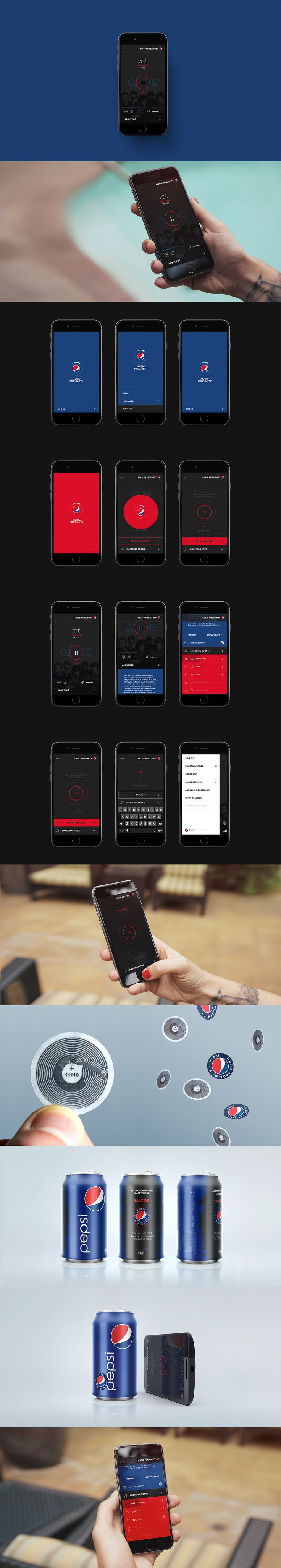Pepsi Music Proximity App by Donhkoland #Design #App #InteractionDesign #UI #Application #Pepsi #Blue #Branding #Music #MusicApp