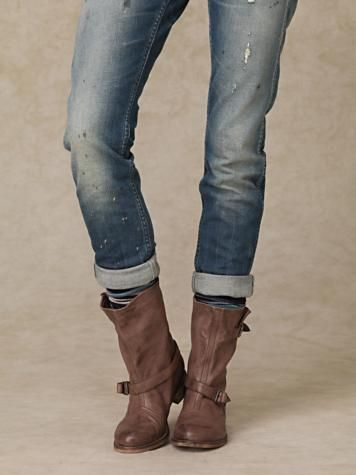 Boots and jeans.