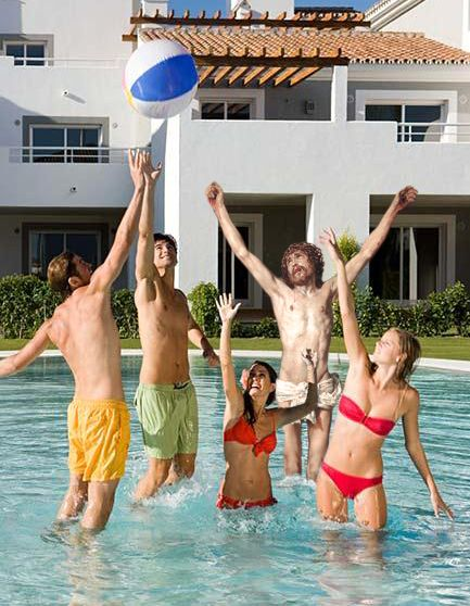 Jesus At A Pool Party