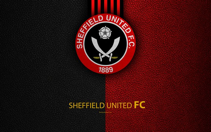 Download wallpapers Sheffield United FC, 4K, English Football Club, logo, Football League Championship, leather texture, Sheffield, South Yorkshire, United Kingdom, EFL, football, Second English Division