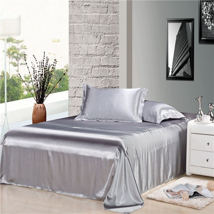 Luxury Silver Gray Silk Satin Comforter Duvet Covers Bedding Sets 4pc