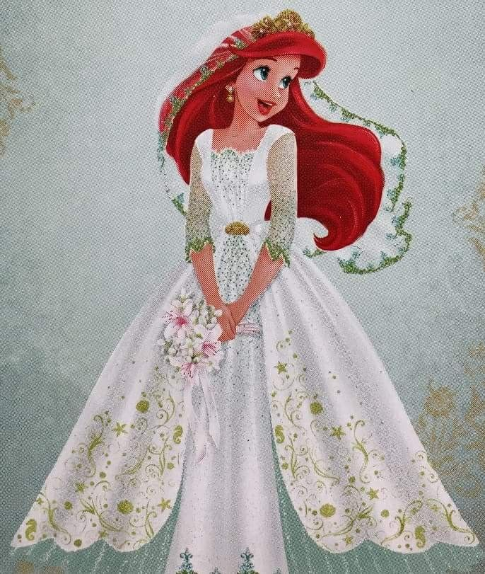 Ariel in her new and beautiful wedding dress as a bride