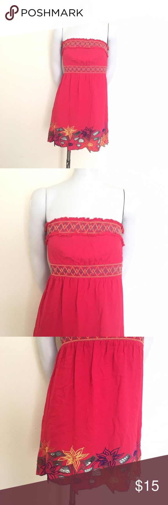 "Forever 21 Embroidered LaserCut Strapless Sundress - Size: Small - Material: Rayon - Condition: EUC, small flaw on back, pictures  - Color: Coral/Multi - Pockets: No -Stretch: Yes   *Measurements taken laying flat:  Bust:13"" not stretched  Waist: 10.5"" not stretched  Length: 27"" from neckline     * Almost all my prices are negotiable and no offer offends me! * Forever 21 Dresses Strapless"
