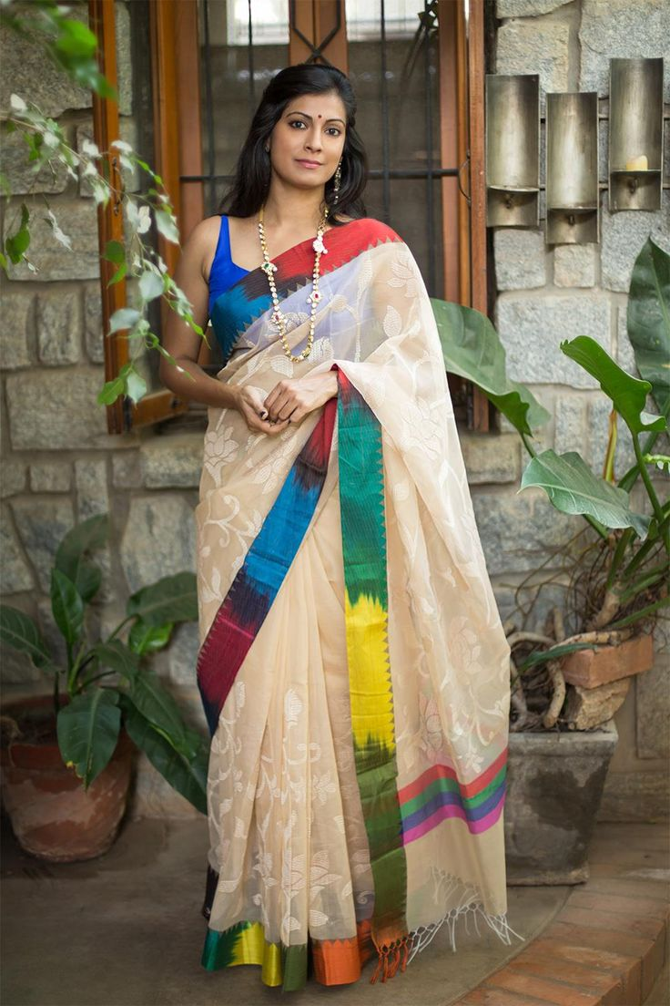 Cream cotton kota with self weave and multi color border #saree #houseofblouse