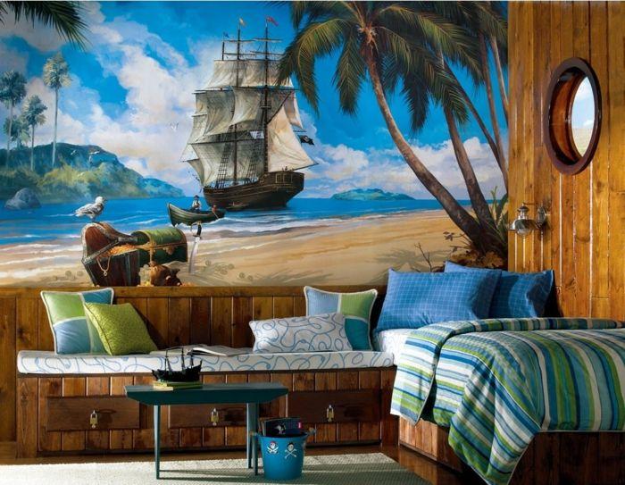 New Wandgestaltung Kinderzimmer mit Fototapete mit Schiff der Schatz gefunden hat
