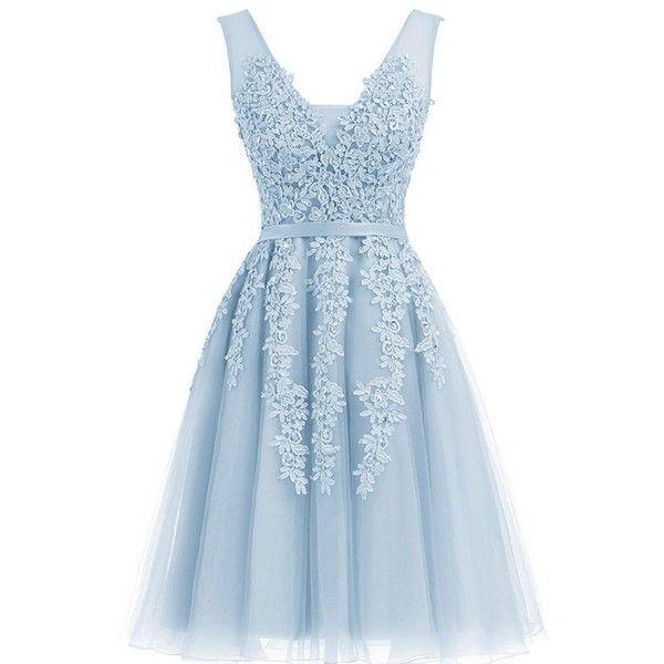 Annadress Women's Sleeveless Homecoming dresses Short Net Bridesmaid... ($40) ❤ liked on Polyvore featuring dresses, cocktail dresses, blue dress, sleeveless dress, evening dresses and short dresses