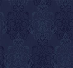Damask Sidewall navy wallpaper
