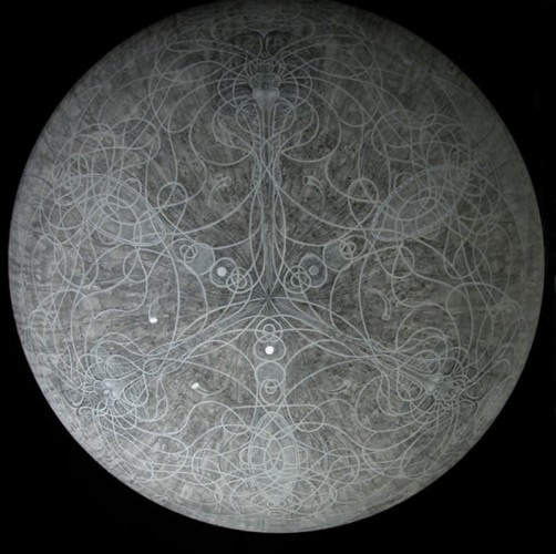 Carol Prusa ~ Optic Nerve (silverpoint with graphite and white acrylic on acrylic sphere with fiber optics)