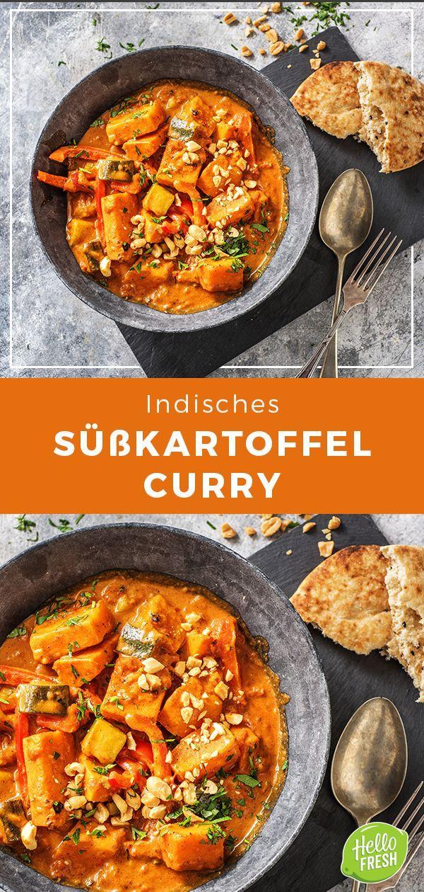 Indisches Süßkartoffel-Curry mit Zucchini, Tikka-Masala-Paste und Naan-Brot