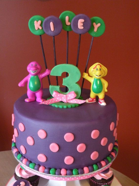 barney cakes   Barney Birthday Cake & Cupcakes