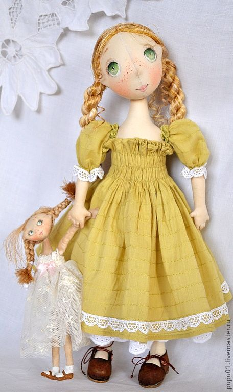 rag doll, yellow dress with baby
