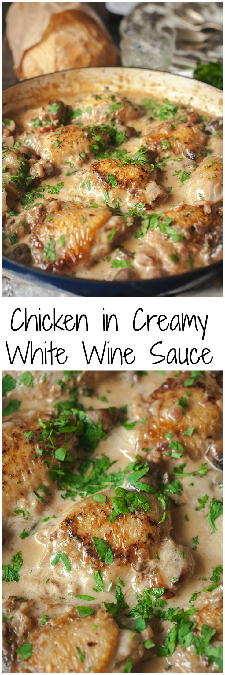 Succulent chicken with Cremini mushrooms cooked in white wine and a splash of cream.