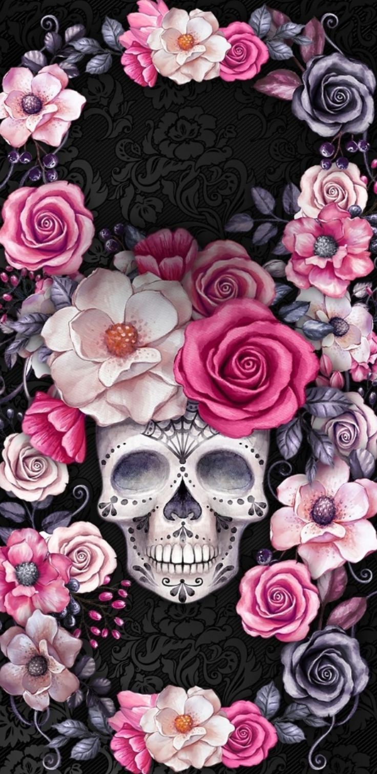 Skull In The Flowers Beautiful Ilustration For The Day Of The