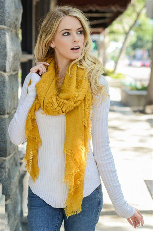 Mustard scarf with frayed edges | Country Faith Boutique                                                                                                                                                     More