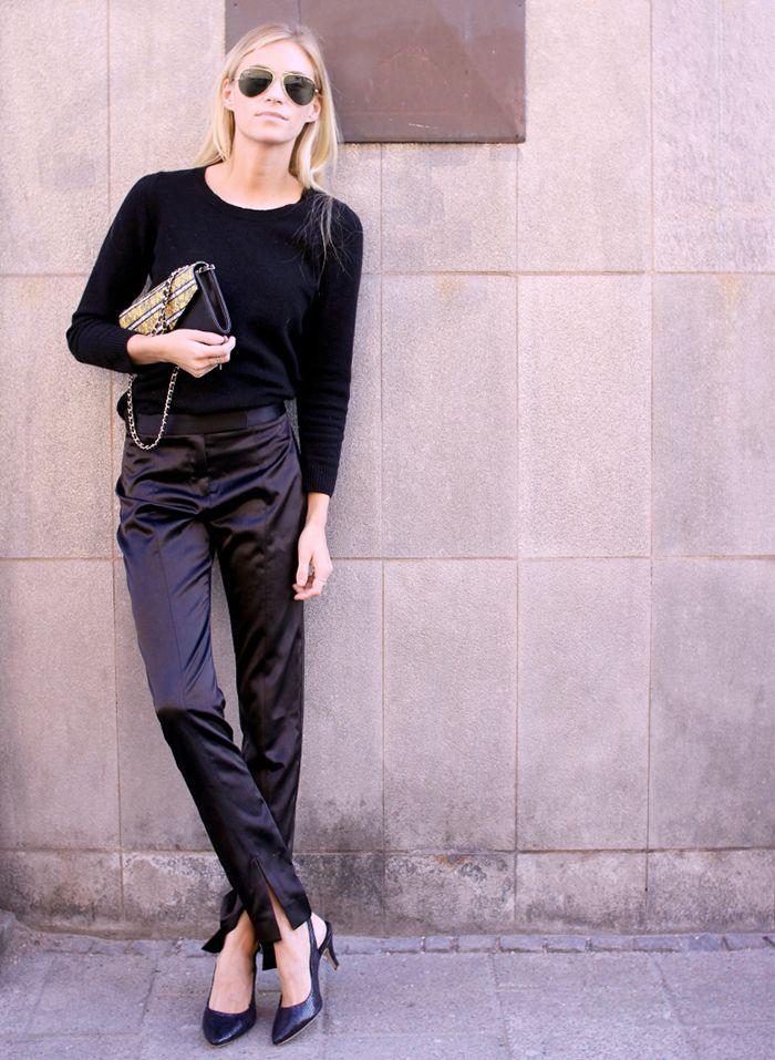 All black errrythang // Love the black silk pants + top