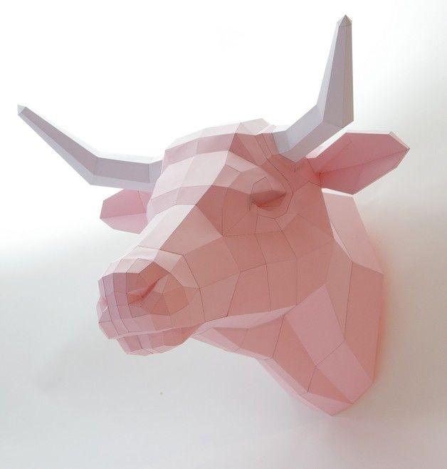 Sculptures, Trophée Vache, vache laitière en papier DIY est une création orginale de paperwolf sur DaWanda