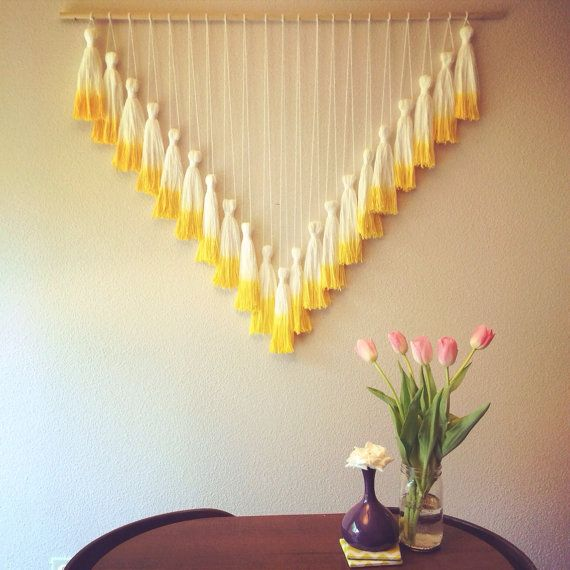 Dip Dyed Tassel Wall Hanging // Mega Yellow by jeanniehelzer, $120.00
