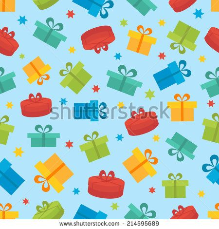 Seamless vector pattern with gift box on a blue background - stock vector