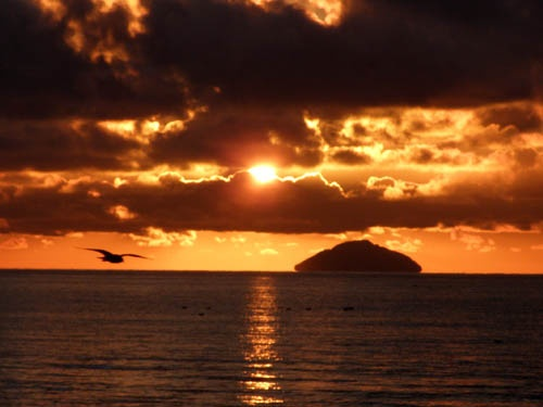Ailsa Craig at sunset seen from Prestwick. Grab a pot of Patépaté from Sainsbury's.