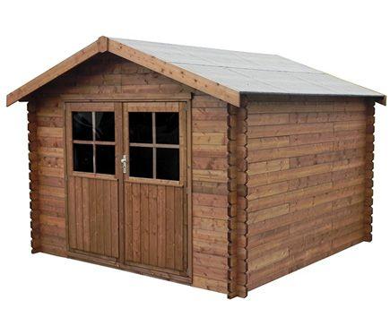 Caseta de madera de pino de 3 17 x 3 13 m montreal leroy for Casetas de madera leroy merlin