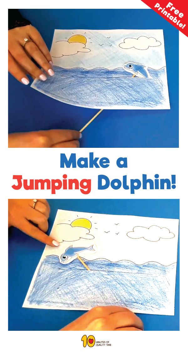 Free printable Paper Craft - Jumping Dolphin