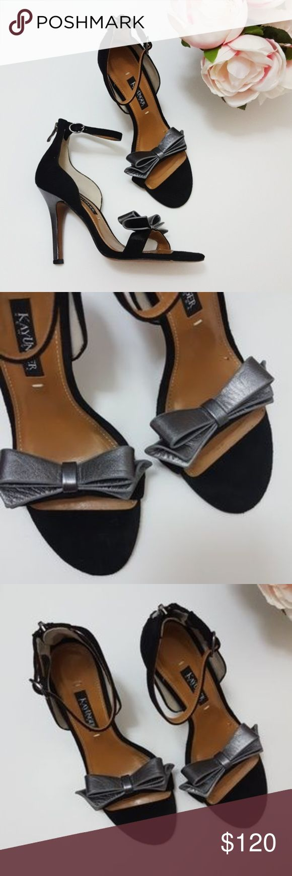 Kay Unger bow strap heels size 6.5 In good condition! Beautiful Kay Unger heels, size 6.5. 4 imch heel. Black suede material, size 6.5. Gray metallic color bow. See left heel for slight imperfection. Used item: lovingly inspected for wear. Pictures show any signs of wear. Bundle up! Offers always welcome:)  Shop my husban'd closet! @kirchingeraaron Kay Unger Shoes Heels