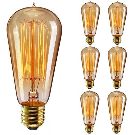 Elfeland Edison Vintage Glühbirne / E27 40W Industrial Retro Stil Warmweiß Dimmbar / für Hängelampe Wandleuchte Pendelleuchte / Modell ST58 Squirrel Cage Filament / 6 Stück