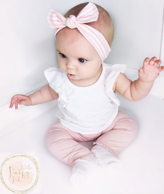 Pink Stripe Headband / Cotton Knitted Headband / Infant Headband / Baby Headband…