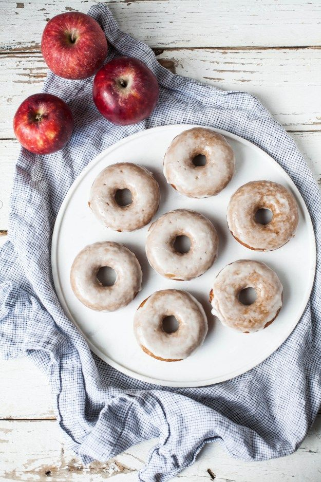 Baked apple cider donuts with maple-whiskey glaze