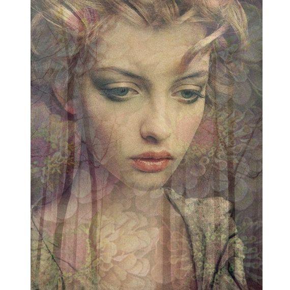 Demure Goddess photomontage digital art print beige by VoogsArt, $24.00