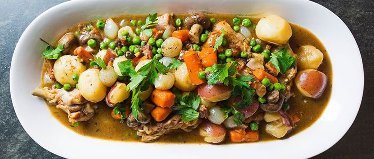 Jacques Pépin's Braised Chicken with Potatoes, Carrots, Mushrooms and Peas Recipe