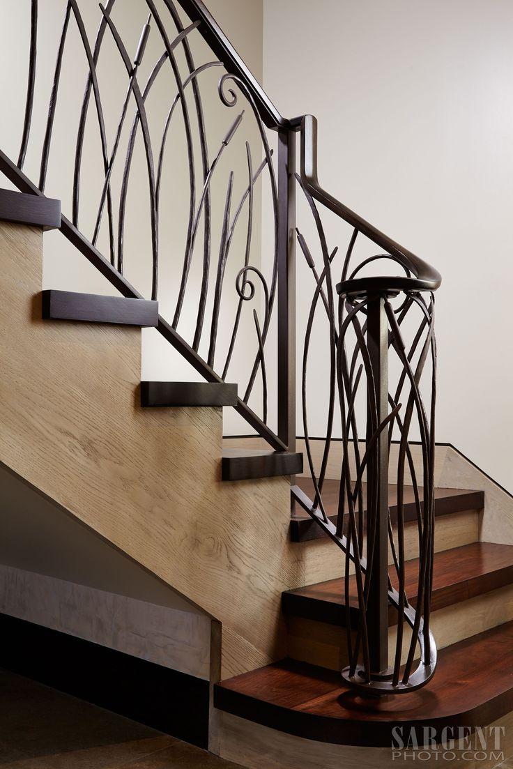 Custom Iron Stair Railing Contemporary Cat Tail Stair