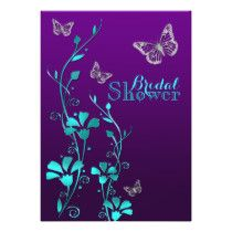 Shower Invite | Purple Teal, Floral, Butterflies