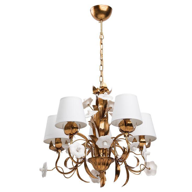 Suspension lustre antique, couleur or, décoré avec des fleurs en porcelaine…