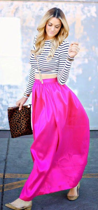 Stripes & Pink Maxi Skirt