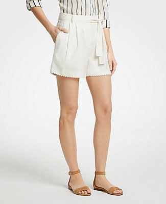 d5c5d22bf466 Petite Scalloped Trim Tie Waist Shorts