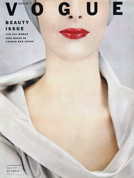 1950s Vogue cover photographed by Erwin Blumenfeld, October 1952.
