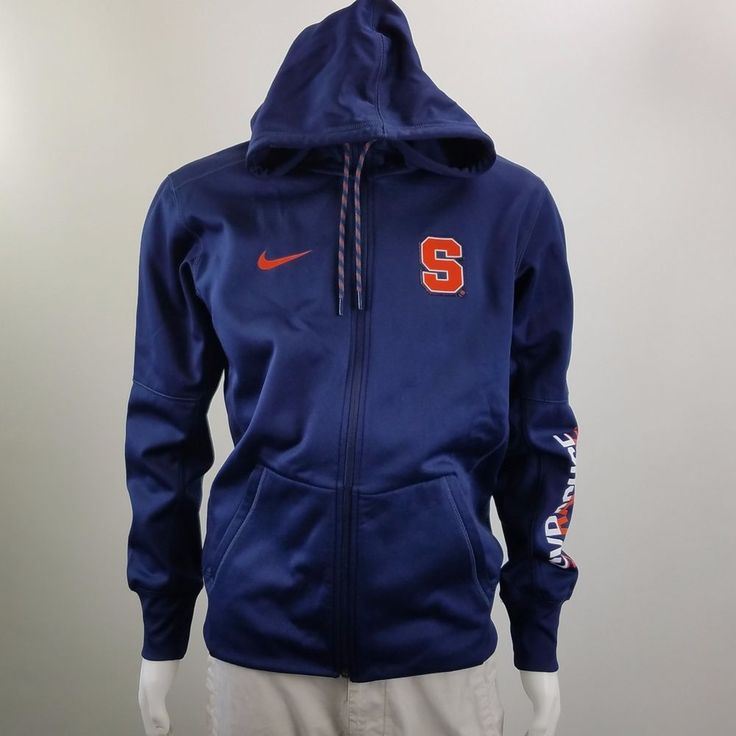 Nike Therma Fit Syracuse Orange Blue Full Zip Hoodie Sweatshirt Long Sleeve Sz M #Nike #Hoodie #ebayROCteam