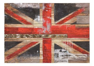 $169, Mother of Industry Wall Art W6265, 24'' x 20.5'' x 2'', hand painted on wood with metal embellishments, this decorative Union Jack has a rustic, industrial feeling.