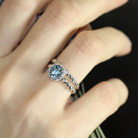 Floral Aquamarine Wedding Ring Set in 14k White Gold, 8x8mm Blue Aquamarine Engagement Ring and Pebble Diamond Wedding Band ... OMG!!!!!!!!!!!!!!!
