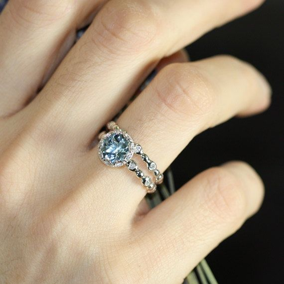 Floral Aquamarine Wedding Ring Set in 14k White Gold, 8x8mm Blue Aquamarine Engagement Ring and Pebble Diamond Wedding Band (Custom Made ok)