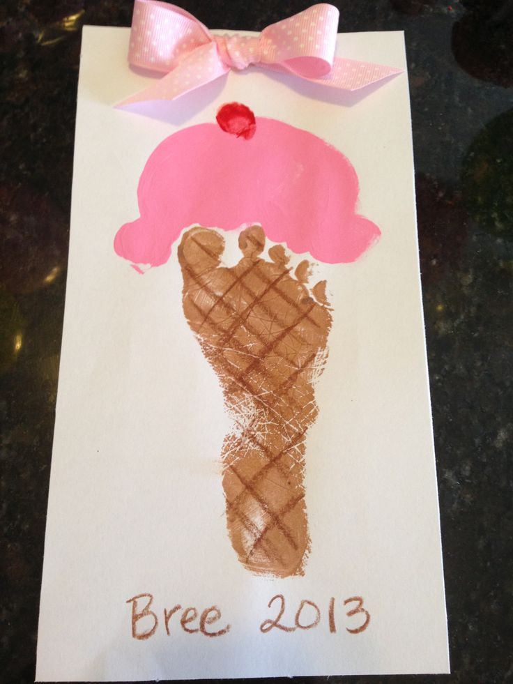 [Image Only] Footprint Ice Cream Cone - what a cute idea! #preschool #kidscrafts #efl #education (repinned by Super Simple Songs)