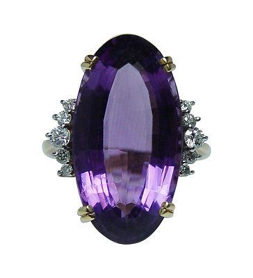 Giant Vintage 15ct Amethyst Diamond Ring