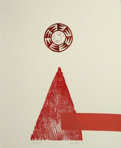 Cerisse Palalagi, 3W77, silkscreen and woodcut on 315 x 700 mm paper, 1 of 1, 2013. Sold.