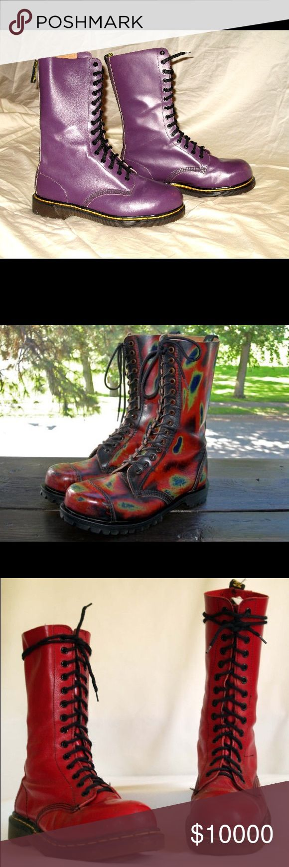 """ISO Dr Martens 1914 14 eye boots MIE UK 7 or 8 Looking for vintage Docs in a unisex UK 7 or 8 (interior insoles need to be 10.5""""). Prefer Made in England's, except for variations like Crazy Bombs or Rub-offs that weren't MIE. No new 1914 please, no zippers or cute crap. Looking for Acid apple green, electric blue, red (not burgundy or oxblood) or any other unique variation. Fair price for fair condition. Dr. Martens Shoes Combat & Moto Boots"""