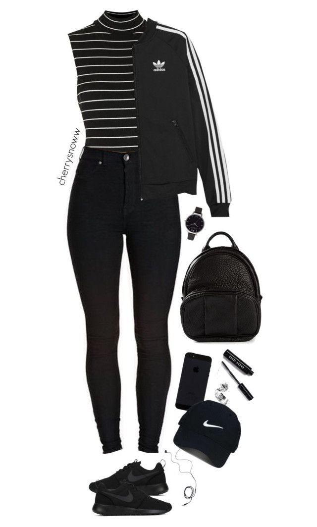 """Black sporty chic outfit"" by cherrysnoww ❤ liked on Polyvore featuring Topshop, Diane Von Furstenberg, NIKE, adidas Originals, Alexander Wang, Olivia Burton, Bobbi Brown Cosmetics and Nike Golf"